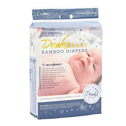 Dewor Baby Premium Bamboo Disposable Diapers, Large (20-31 lbs), 72 Count