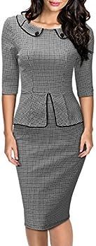 Women's Retro Neck 1/2 Sleeve Formal Pencil Dress