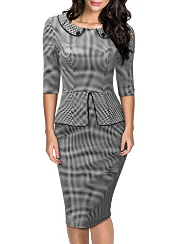 Miusol-Womens-Retro-Neck-Houndstooth-Print-Peplum-12-Sleeve-Formal-Pencil-Dress