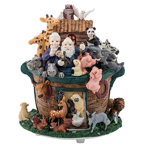 Round Noah Ark and Animals Rotating Music Box Figurine Statue Plays Tune Love Makes the World Go Round