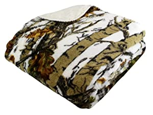 "REGAL 50"" x 70"" Sherpa Luxury Throw Blanket - The Wood's White Camo"
