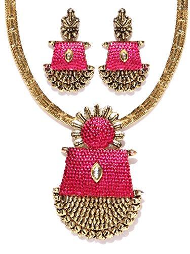 Zaveri Pearls Antique Ruby Sprinkle Necklace Set-ZPFK4156