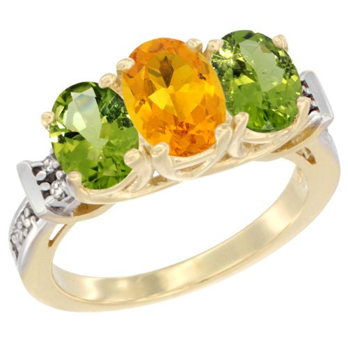 10K Yellow Gold Natural Citrine & Peridot Sides Ring 3-Stone Oval Diamond Accent, size 9