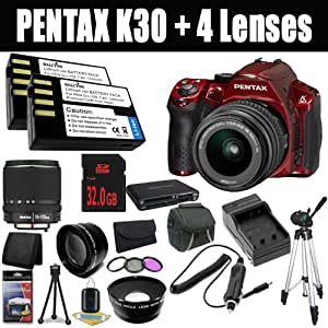 Pentax K-30 Weather-Sealed 16 MP CMOS Digital SLR (Red) with Pentax DA 18-55mm f/3.5-5.6 AL Weather Resistant Lens + DA 18-135mm F/3.5-5.6 ED AL (IF) DC Weather Resistant Lens + Two D-LI109 Replacement Lithium Ion Batteries + External Rapid Charger + 32GB SDHC Class 10 Memory Card + 52mm Wide Angle Lens + 52mm 2x Telephoto Lens + 52mm 3 Piece Filter Kit + Carrying Case + Full Size Tripod + Multi Card USB Reader + Memory Card Wallet + Deluxe Starter Kit DavisMax Bundle