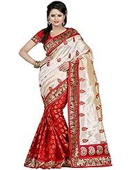 Urban Naari Red Colored Bhagalpuri Silk Printed Saree With Blouse Piece