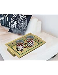 Antique Handcrafted Serving Tray With Handle Decorative Wood & Metal Meenakari Work Serveware, 13X9 Inches Tea...