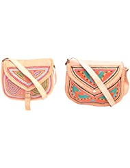 Aryan Exports Girls' Sling Bag (Multi-Colour, Set Of 2, Abc_242)