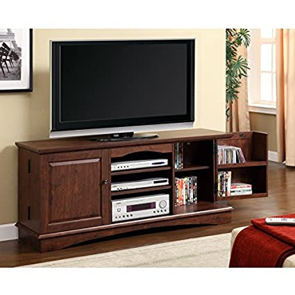 Media Storage TV Console in Traditional Brown Finish