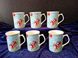 SET OF 6 ROSE WITH BLUEBACKGROUND MUGS FREE NEXT DAY DELIVERY IN UK