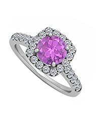 Amethyst And Cubic Zirconia Halo Engagement Ring In Sterling Silver