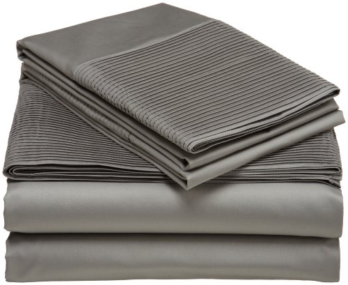 Pinzon Pleated Hem 400-Thread-Count 100-Percent Egyptian Cotton Sheet Set, Full, Sterling front-1063343