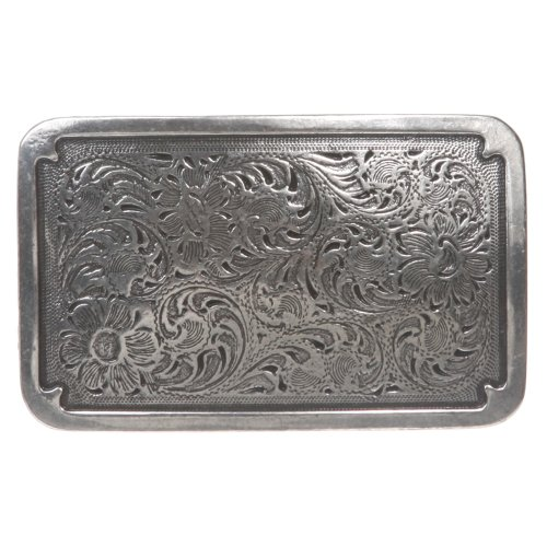 Western Rectangular Floral Antique Belt Buckle