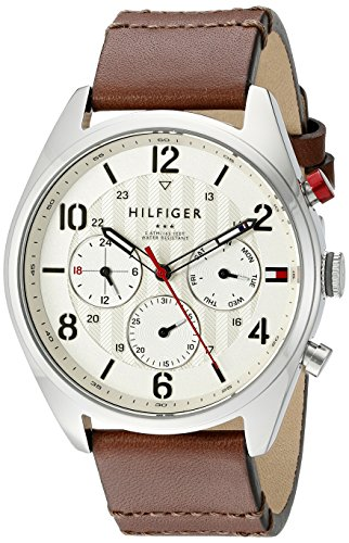 Tommy-Hilfiger-Mens-1791208-Casual-Sport-Watch-with-Brown-Band