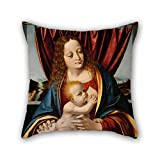 Pillow Covers Of Oil Painting Marco D' Oggiono - Madonna And Child,for Bedding,outdoor,kids Boys,monther,seat,father 16 X 16 Inches / 40 By 40 Cm(2 Sides)