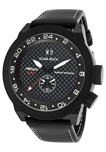 Glam Rock Racetrack Reloj de hombre cuarzo suizo 48mm correa de cuero genuino color negro GRT29013F