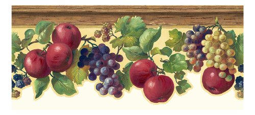 York Wallcoverings KH7132B  Kitchen and Bath Fruit and Ivy Border, Butterscotch/Red/Purple/Various Shades Of Green (Kitchen Wallpaper Border Grapes compare prices)