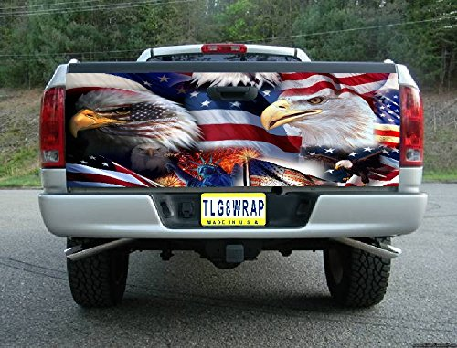 T40 AMERICAN FLAG EAGLE USA TAILGATE WRAP Vinyl Graphic Decal Sticker F150 F250 F350 Ram Silverado Sierra Tundra Ranger Frontier Titan Tacoma 1500 2500 3500 Bed Cover tint image (F250 Fender Decals compare prices)