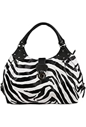 FASH Large Zebra Print Satchel Style Top Handle Handbag