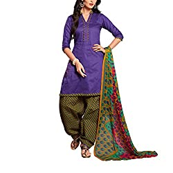 Destiny Enterprise Cotton Unstitched Purple and Olive Color Patiyala Suit Dress Material for Women