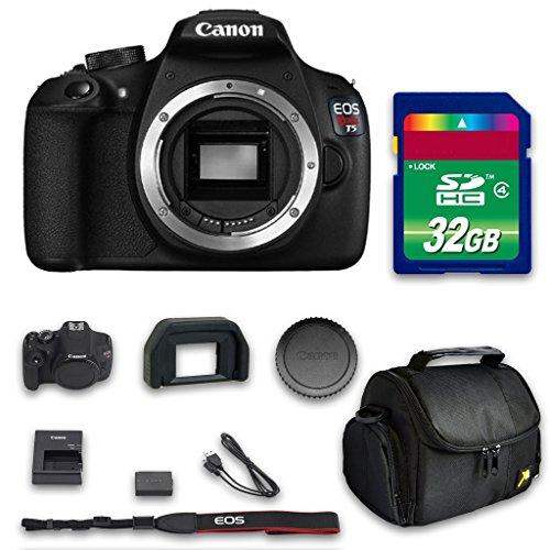 Canon T5 (Body Only - No Lenses) + 32 GB High Speed Memory Card + Camera Case + All Original Accessories Included - International Version (Filming Accesories compare prices)