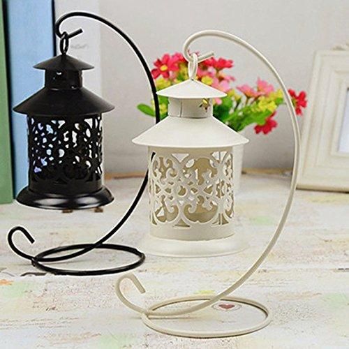 heartogether europeo Retro Hollow ferro Candeliere lanterna portacandele per matrimoni Home Decor Beige