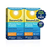 Renew Life Adult Probiotics 50 Billion CFU Guaranteed, 12 Strains, For Men & Women, Shelf Stable, Gluten Dairy & Soy Free, 60 Capsules, Ultimate Flora Extra Care (Pack of 2) (Tamaño: 120 Count)