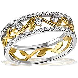 Goldmaid Damen-Ring Bay Leaves gelb vergoldet 925 Silber teilvergoldet Zirkonia weiß Rundschliff Gr. 54 (17.2) - Fo R7641S54