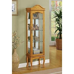 Coaster 950194 Oak Finish Wood Curio Cabinet with Glass Sides And Door