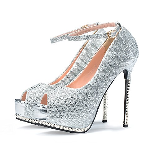CHEERDRESS Platform Pumps Shoes Women Stilettos Wedding Evening Party Sexy High Heels (9, Silver-Back Strap)
