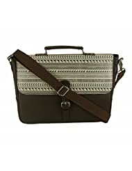 The House Of Tara Faux Leather Women's Laptop Bag With Printed Flap (Dark Brown, HTMB 032)