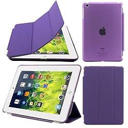 Elite Ultra Thin Smart Flip Foldable Flip Case cover for Apple iPad Mini 3 Tablet with Glittering stylus (Sleep/wakeup) (Purple)