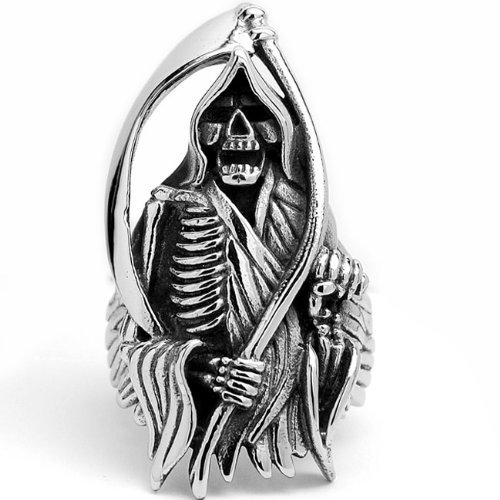 Stainless Steel Casted Grim Reaper Biker Ring Size 12