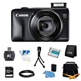 Canon PowerShot SX600 HS 16.1 MP CMOS Digital Camera with 18x Image Stabilized Zoom 25mm Wide-Angle Lens and 1080p Full-HD Video (Black) Super Bundle- Includes camera, 32 GB SDHC Memory Card, BP-6L Battery Pack, Carrying Case, SD USB Card Reader