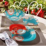 "Luminarc ""Silene"" Unbreakable Tempered Glass 19-pcs Dinnerware Set, Blue & Red colored vintage dish set"