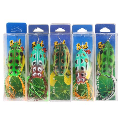 #1 Toad Soft Plastic Hollow Fishing Lure Crankbait Hooks Bass Bait Frog 5  Best Offer