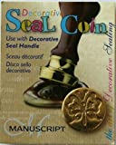 Manuscript Pen 727 But Decorative Seal Coin, 0.75 Inch, Butterfly