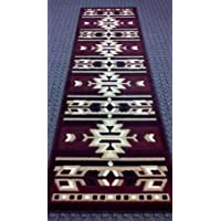 Southwest Native American Area Rug Runner 32 In. X 10 Ft. Burgundy #113