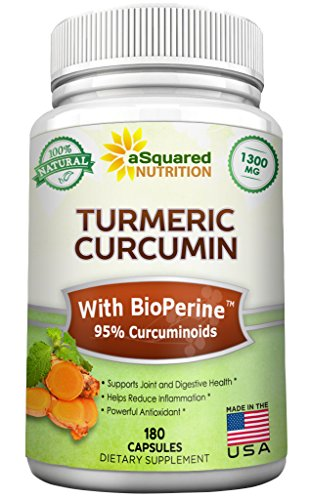 Pure Turmeric Curcumin 1300mg with BioPerine Black Pepper Extract - 180 Capsules - 95% Curcuminoids, 100% Natural Tumeric Root Powder Supplements, Natural Anti-Inflammatory Joint Pain Relief Pills