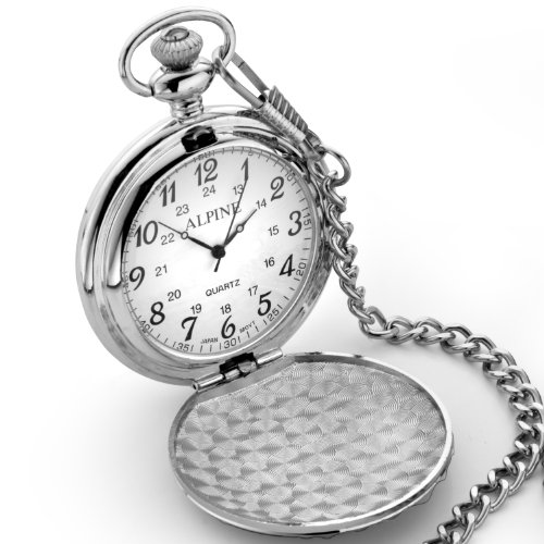 Personalised Engraved Silver Pocket Watch. Ideal Men's Gift. Complete with Free engraving, black pouch and spare battery.