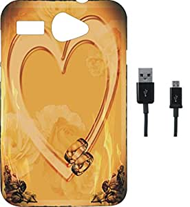 BKDT Marketing Printed Soft Back Cover Combo for Micromax Bolt Q326 With Charging Cable