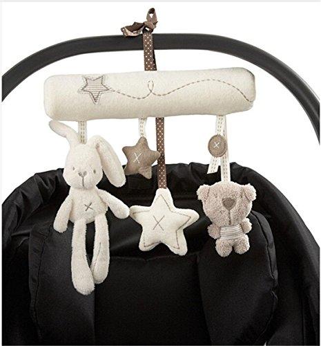 Hangqiao - Móvil musical de felpa para carrito de bebé, diseño de estrella, conejo y osito