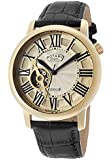 Rotary Men's Automatic Gold Tone IP SS Case Champagne Dial Black Genuine Leather