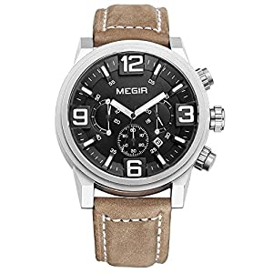 Baogela Gents Black Dial Big Face Chronograph Army Leather Calender Quartz Watch