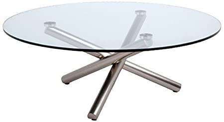 Whiteline Modern Living Round Coffee Table with 1/2-Inch Clear Tempered Glass and Brushed Nickel Legs