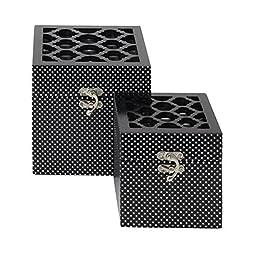 Benzara 62597 Set Of 2 Attractive And Adorable Wooden Mirror Box