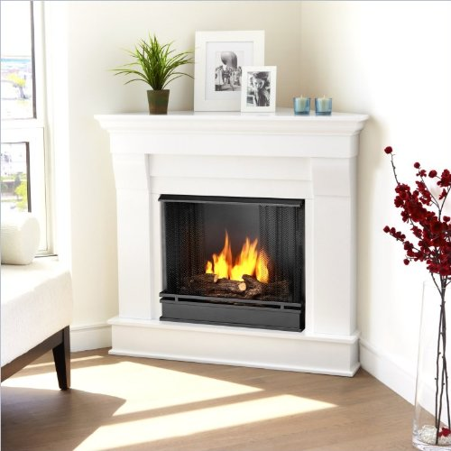 Cheapest Price! Chateau Corner Gel Fireplace in White