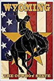 Wyoming Cowboy (12x18 Collectible Art Print, Wall Decor Travel Poster)