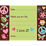 Hippie Chick Thank You Notes (8) Note Cards Peace Owl Girl Birthday Party Supply