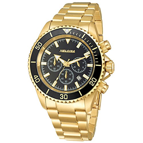 Heloise Men's Multi-Function Time Gold Plated Stainless Steel Watch Black Dial #76120235 (Heloise Jewelry Box compare prices)