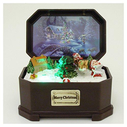 Christmas Music Box -- Holiday Decoration -- Fiber Optic Lighted Santa Music Box -- Plays Jingle Bells -- Christmas Gifts, Black Friday Deals, Black Friday, Cyber Monday